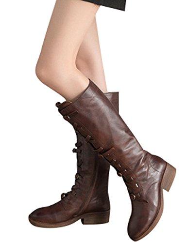 Seitlicher Winter Kaffee Reißverschluss Stiefel Stiefel Leder Youlee Kniehohe Damen SgwwaO