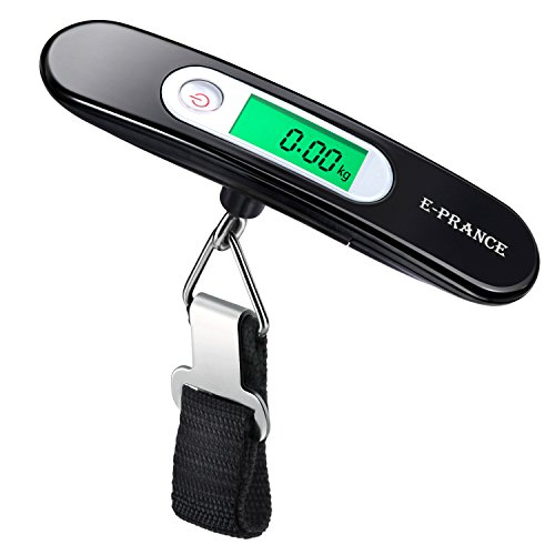 E-PRANCE Luggage Scale Portable Digital Electronic Suitcase Handheld Scale Hanging Scale with Tare Function for Travel/Outdoor/Home Use,110 lb/ 50KG (Black)