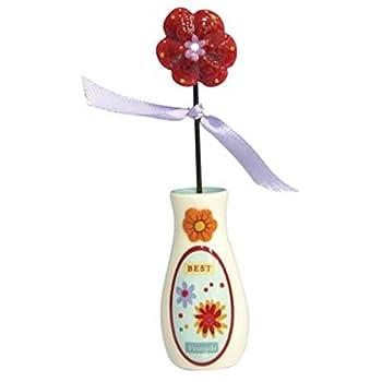 """WL SS-WL-15931 """"Best Friends"""" Decorated Flower & Vase Collectible Figurine, 4.5"""""""
