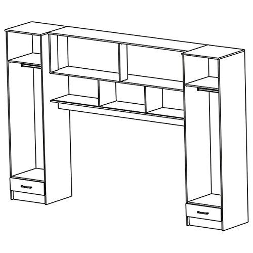 Schrankbett akazie grau wei schwarz b 308 cm jugendbett for Jugendzimmer schrank