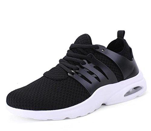 De malla ligera de aire atlético cojín Running Tenis transpirable cómodo de baloncesto de encaje zapatos de los hombres UE tamaño 39-44 Black