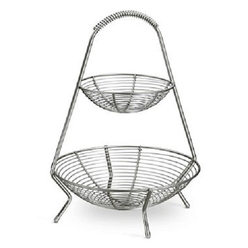 Tramontina Stainless Steel 2 Tier Fruit Basket (Contemporary Fruit Basket)