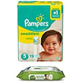 Pampers Swaddlers Disposable Diapers Size 5 (19 ct) Bundle with Seventh Generation Flip Top Baby Wipes (30 ct)