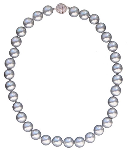 Gray Shell Pearl Necklace - 12mm Round South Sea Shell Pearl Light Gray Necklace 18