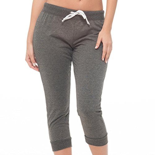 [E165C-HC-S] Coco-Limon Womens Jogger, French Terry Capri Cropped Sweatpant, Charcoal, Small -