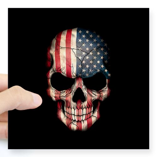 CafePress American Flag Skull Sticker Square Sticker 3 x 3 - 5x5 Clear