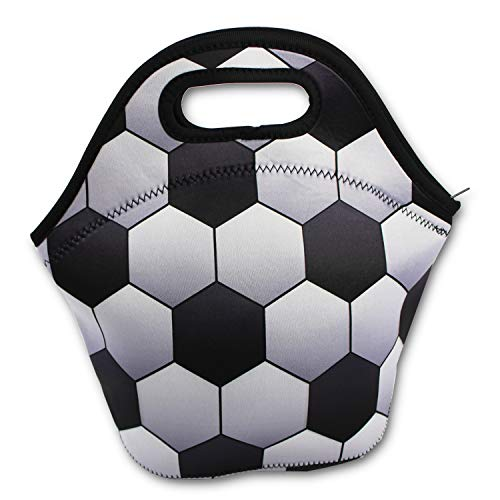 4282a2ac19 KnitPopShop Baseball Softball Zipper Cooler Lunch Bag Insulated Gifts  Washable Neoprene (Soccer)