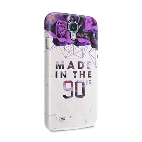 (Made in The 90's Purple Roses Cream Marble Plastic Phone Snap On Back Case Cover Shell Compatible with Samsung Galaxy S4)