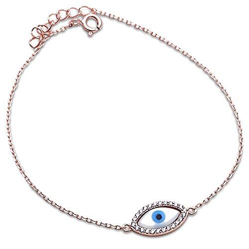 Sterling Silver Blue Evil Eye Bracelet Three Colors Available (Eye Diamond Bracelet)