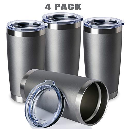 - ONEB 20oz/4Pack Double Wall Vacuum Insulated Travel Mug, Stainless Steel Tumbler with Lid, Durable Powder Coated Insulated Coffee Cup for Cold & Hot Drinks (Cold Grey, 4 Pack)