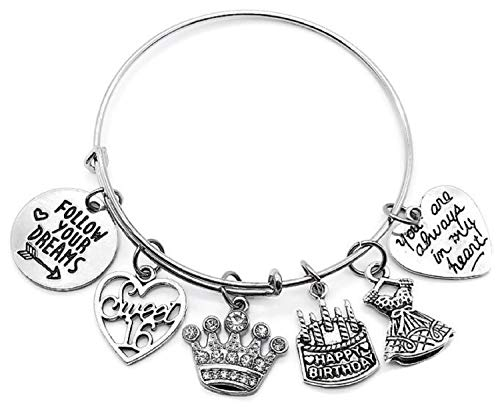 Kit's Kiss 16th Birthday Bracelet, Sweet 16 Bracelet, Birthday Gift for Girls, Birthday Bangle Bracelet, Birthday Charm, Dress Charm, Rhinestone Crown Charm, Birthday Bangle Jewelry (16th Birthday)
