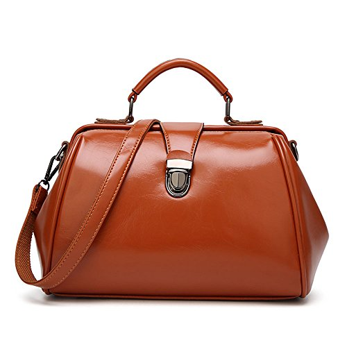 Mn&Sue Retro Women Top Handle Satchel Doctor Style Handbags Designer Shoulder Bags Lady (Doctor Style Bag)