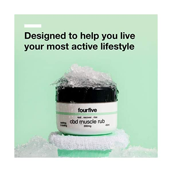 fourfive CBD 300 mg High Strength Muscle Rub Relieves Joint & Muscle Aches & Pains with Soothing & Cooling Relief 45ml, Clear