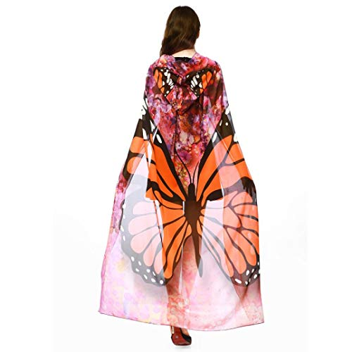 iDWZA Women Fashion Print Chiffon Butterfly Wing Cape Scarf Peacock Shawl Wraps(140100cm,Orange)