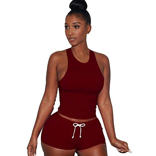 WensLTD Fashion Womens Sleeveless Split 2 Piece Set Casual Short Pants Casual Outfit Sportswear (L, Wine Red)