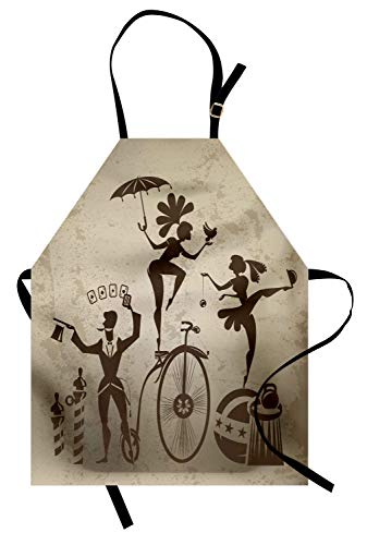 Ambesonne Circus Apron, Silhouette Circus Performers as Magician
