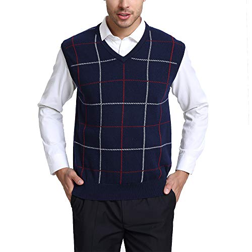 Kallspin Relaxed Fit Mens V-Neck Vest Knit Cashmere Sweater (Navy Blue, XXL)