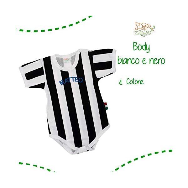 BODY A RIGHE BIANCO E NERE con nome o scritta personalizzata 7