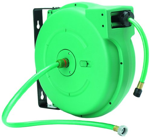 Amflo 550HR-RET Automatic Enclosed Hose Reel With 1/2'' x 65' Green Garden Hose by Amflo