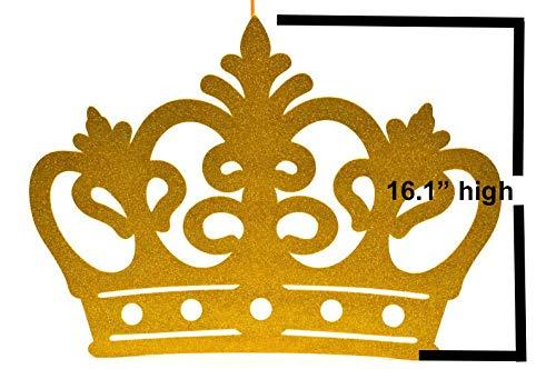 Princess Prince Gold Crown Glitter EVA Foam Banner Backdrop Decoration Photo Booth Picture Prop Recuerdos Party Favor Wedding Birthday (XL)