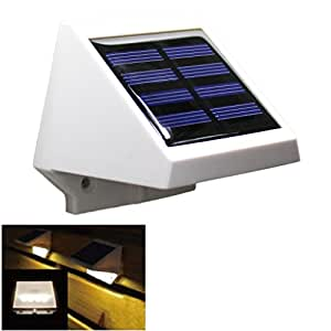 4 LED Solar Powered Auto Outdoor Light Garden Security Lamp for Fence, Patio, Deck, Yard, Home, Driveway, Stairs, Outside Wall,Warm White