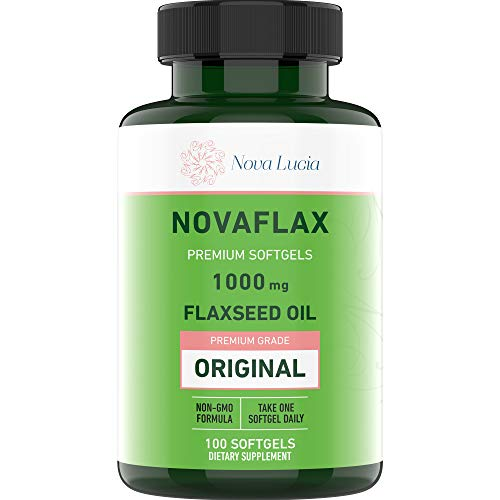 Natural Organic Flaxseed Oil 1,000 mg, Essential Omega 3 6 9 Natural ALA Heart & Brain Health, Immune System Booster Healthy Hair Skin and Nails Gluten Free, Non-GMO, Hexane Free 100 Liquid Softgels