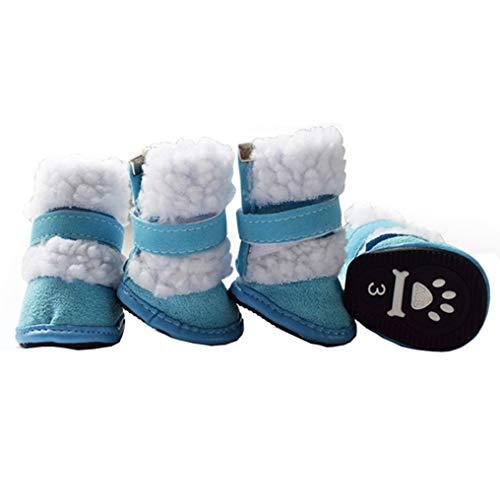 Botas Velvet Feidaeu Set Zapatillas Nieve Para Invierno Azul Cálidas Y Zapatos De Perros Suaves Antideslizante 4pcs AxwAg18qR