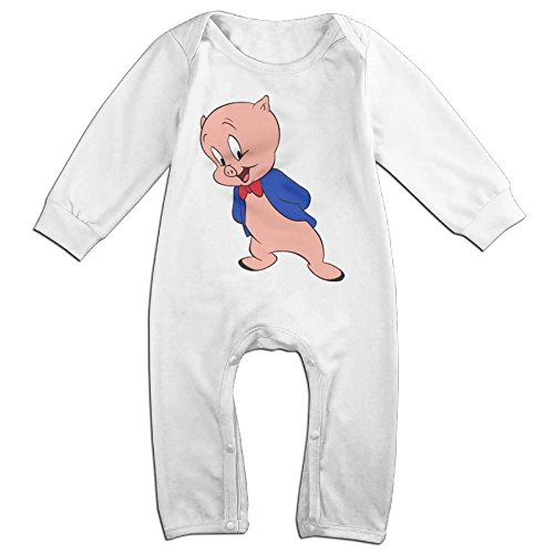 Cotton Baby Infants Long Sleeve Onesies Toddler Bodysuit White Porky Pig Looney Tunes Bodsuits