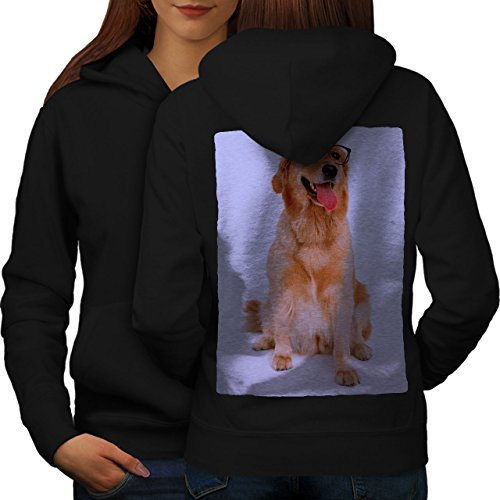 wellcoda Labrador Photo Dog Womens Hoodie, Retriever Print on The Jumpers Back Black 2XL