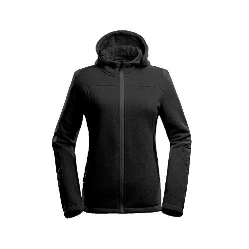 OutdoorMaster Women's Water and Stain Repellent Fleece Jacket, with Ultra Soft Plush Lining, Optional Hoodie (Black Hoodie,L)