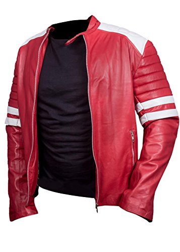 Leatherly Veste Homme Fight Club Mayhem Cuir Veste rouge & blanc