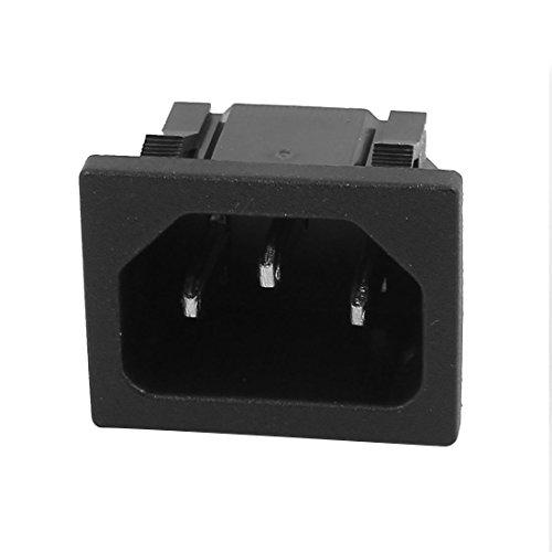 uxcell AC250V 10A SS-120 IEC AC Input Wiring Socket 3 Pins Copper Rhodium Power Black