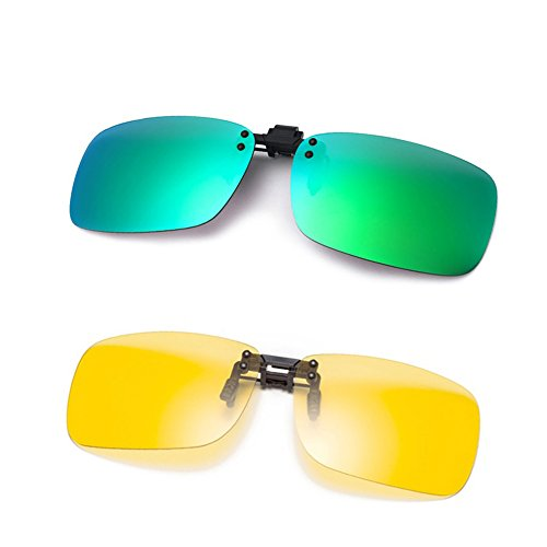 Cyxus [2 paquetes] (Clip On) deportes polarizado gafas de sol con a prueba de viento espejo lente, Hombres / mujeres sin aros...