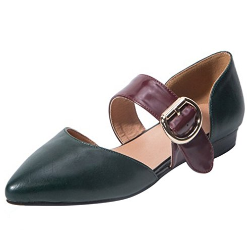 COOLCEPT Damen Mode Mary Janes Sandalen Flach Geschlossene Schuhe Gr Grun