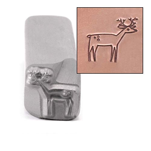 Deer Metal Design Stamp, 8mm Doe Forest Animal Wildlife Punch Stamping Tool for Hand Stamped DIY Jewelry Crafts - Beaducation Original Metal Design Stamps