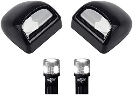 HERCOO LED License Plate Light Lamp Lens White Bulbs Black Truck Rear Housing Compatible with 1999 after Silverado Sierra Avalanche Suburban Escalade Yukon Chevy GMC Cadillac Step Bumper Pack of 2