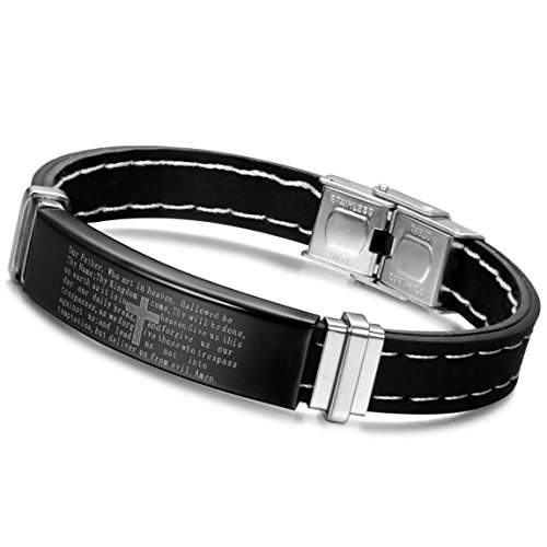 Leather Rubber Bracelets Steel Stainless (ORAZIO 10MM Stainless Steel Rubber Bracelet for Men Cuff Bangle Cross Bible Lords Prayer 8 Inch)