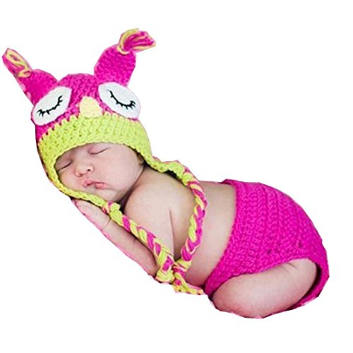 Baby Infant Costume Photo Photography Prop 0-6 Months Newborn (Owl- Pink Hat only) (Wild Zebra Adult Womens Costume)