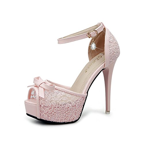 L@YC Womens stiletto concealed platform party court shoes pumps ladies high heel size Pink JaVf6eSM