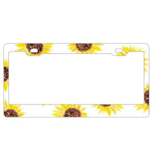 (Sunflowers Print Premium Aluminum License Plate Frame, American Car Tag Frame, US Standard License Plate Frame, License Plate Cover)