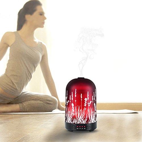 Aromatherapy Essential Oil Diffuser 100ml Glass Fragrance Lavender Cold Mist Humidifier Waterless Automatic Shutdown 7 Colour LED Lights 4 Timed Settings For Home Office Yoga Spa ?- ¡ by PUSEAYZ (Image #5)