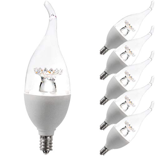 LED Candelabra Bulbs, Flame Tip Dimmable Candelabra LED E12 Candelabra Base Candle Bulbs 4000K (NAR White) 60 Watt Using only 6Watts, Chandelier, Indoor/Outdoor 6W40KTMLW