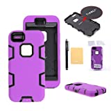 TIANLI(TM) Robot Armor Defender Case Combo For Apple iphone 5C+[Screen Protector]+[Free Stylus]+[Cleaning Cloth] Puple Black B1