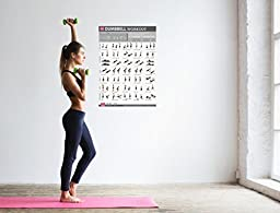Dumbbell Exercises Workout Poster, NOW LAMINATED - Strength Training Workout Chart - Home Gym Weight Lifting Routine - Workout Plans for Women - Body Toning Guide - Free Weights & Resistance 19\