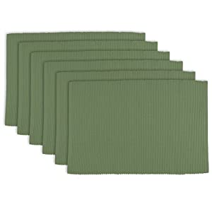 """DII 100% Cotton, Ribbed 13x 19"""" Everyday Basic Placemat Set of 6, Vineyard Green"""