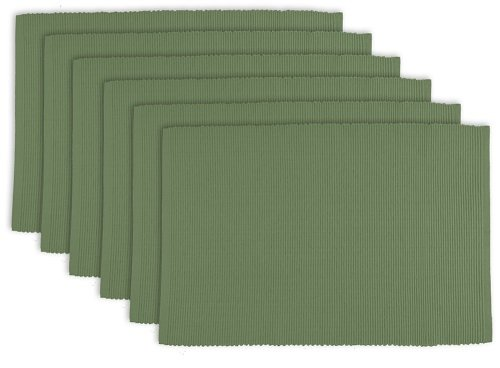 DII 100% Cotton, Ribbed 13x 19 Everyday Basic Placemat Set of 6, Vineyard Green by DII