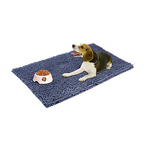 My Pet Territory For Dog And Cat-Ultra Absorbent Microfiber Chenille Dog Mat, Durable, Quick Drying, Washable, Prevent Mud Dirt, Clean Pooch Mat, Keep Your House Grey 31 x 20 Inches