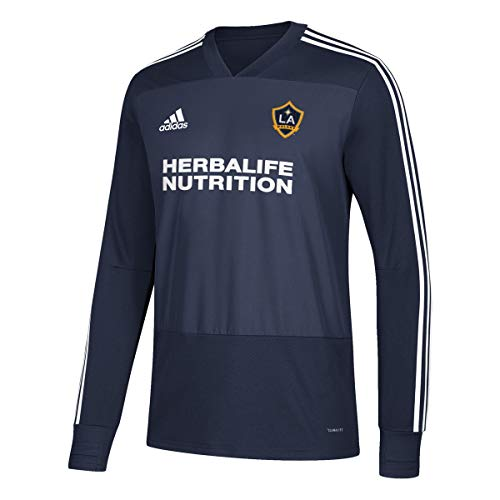 adidas LA Galaxy MLS Men's Navy Blue Climacool Long Sleeve Team Color Training Jersey (XS)