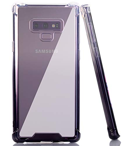 BAISRKE Galaxy Note 9 Case, Clear Black Gradient Shock Absorption Flexible TPU Soft Edge Bumper Anti-Scratch Rigid Slim Protective Cases Hard Plastic Back Cover for Samsung Galaxy Note 9 SM-N960F