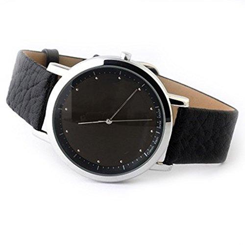Pure Cool Black Leather Simple Wrist Quartz Watches